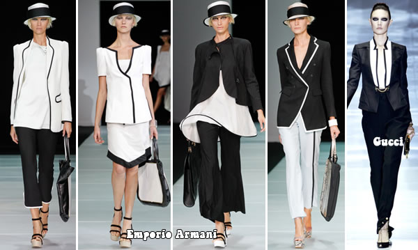 Menswear inspired black and white outfits from Emporio Armani and Gucci