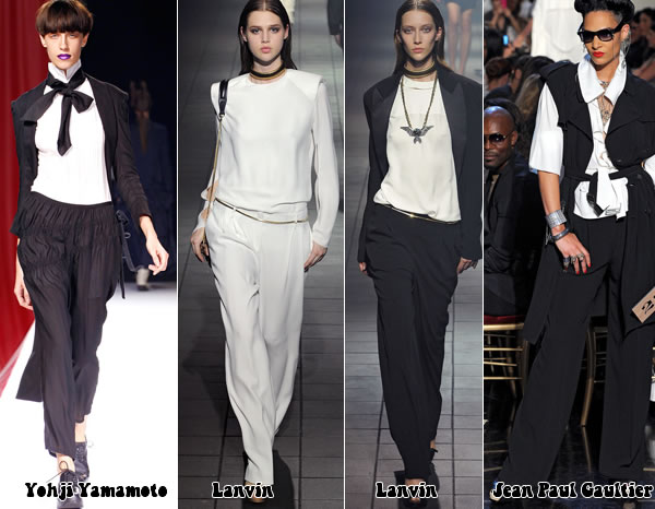 Black and white suits from the paris spring 2012 collections