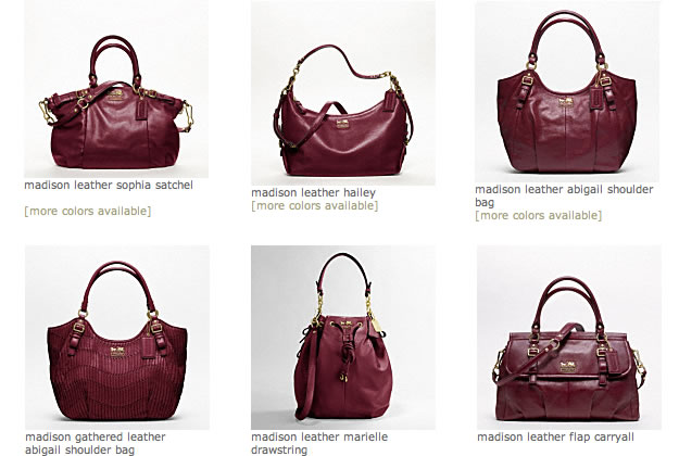 coach madison red bags
