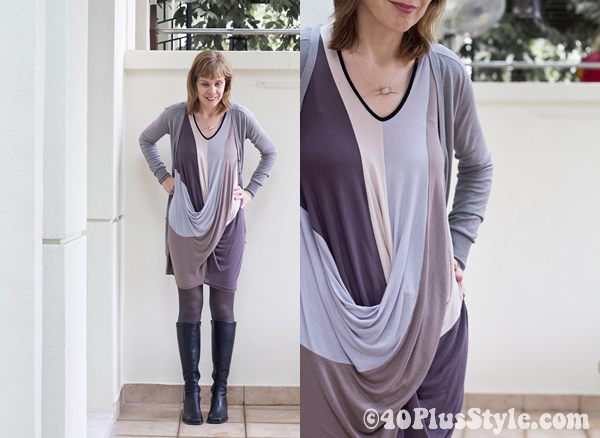purple for fall - alldressedup dress zara cardigan