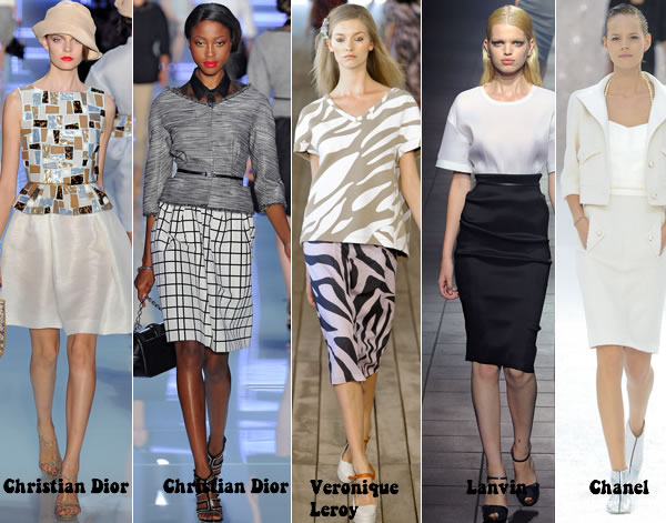 Favorite skirts and tops from Paris Spring 2012 collections for women over 40