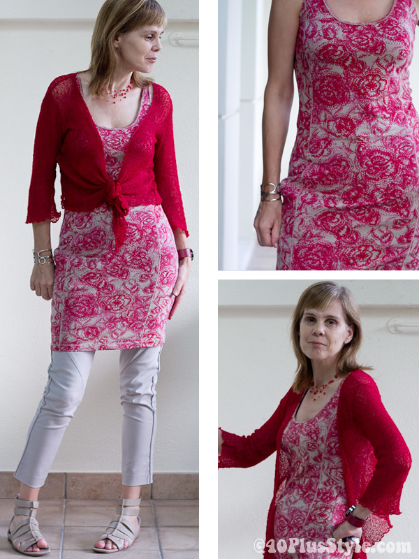 Wearing a red paisley print dress from The Netherlands