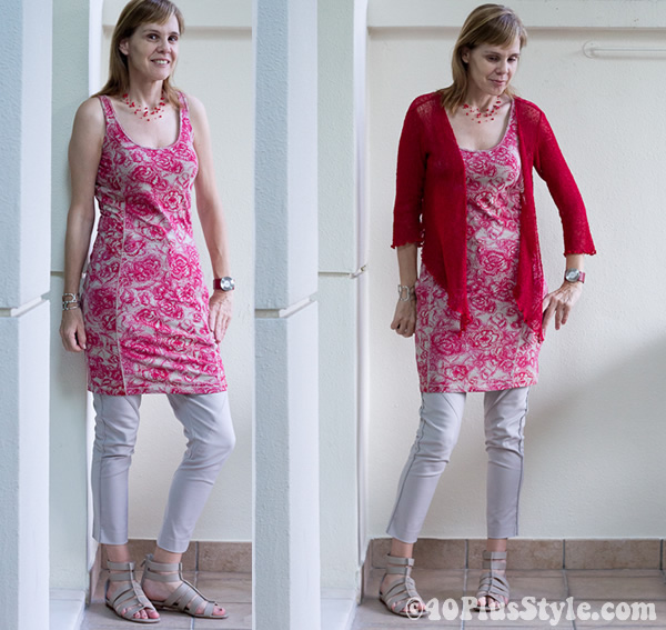 Wearing a red and pink paisley print dress