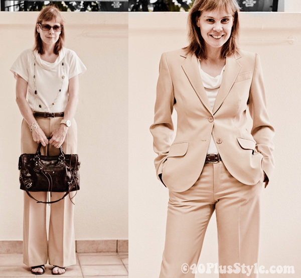 Taking a pantsuit from casual to formal