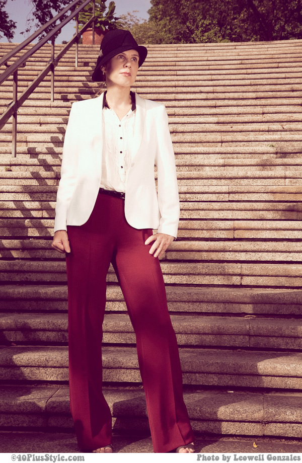Red zara pants, creme blazer