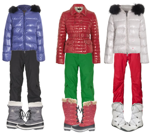 Colorful ski outfits