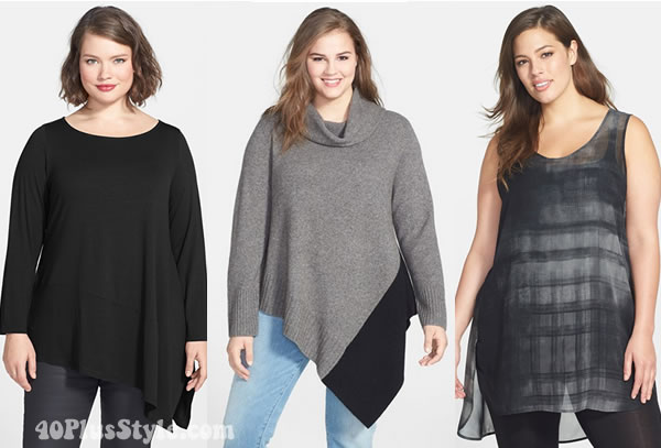 how to hide tummy with asymmetrical tops | 40plusstyle.com