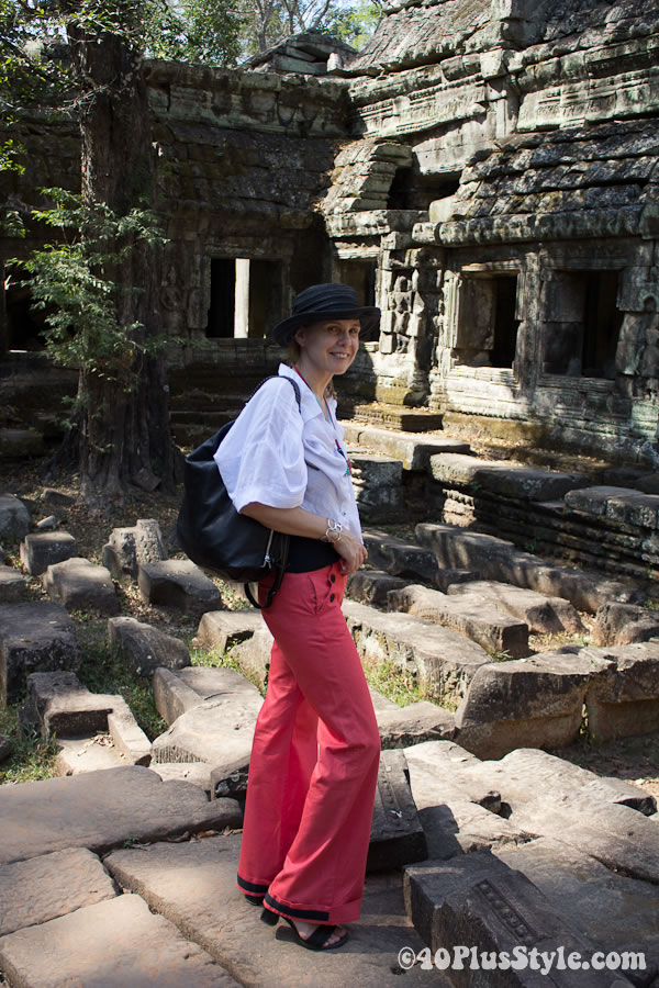 orange sailor pants worn in Siem Reap