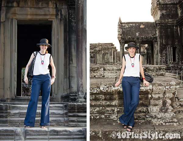 wearing blue sailor pants in siem reap