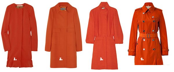 tangerine and orange coats