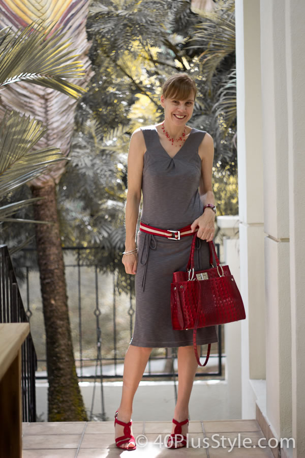 Grey dress with red accessories