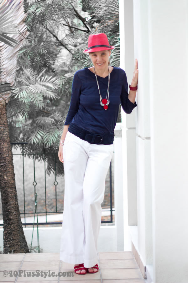 Marine look outfit - blue, white and red