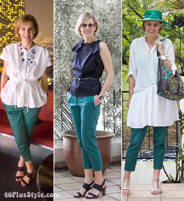 how to wear green printed capris | 40plusstyle.com