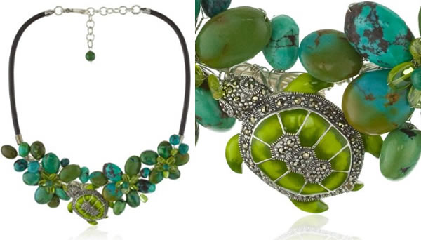 Karen London green turtle necklace