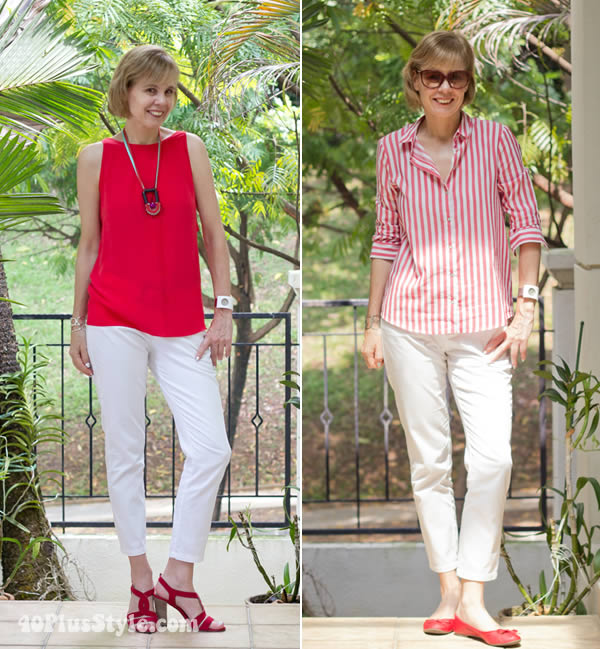white capris with red tops | 40plusstyle.com
