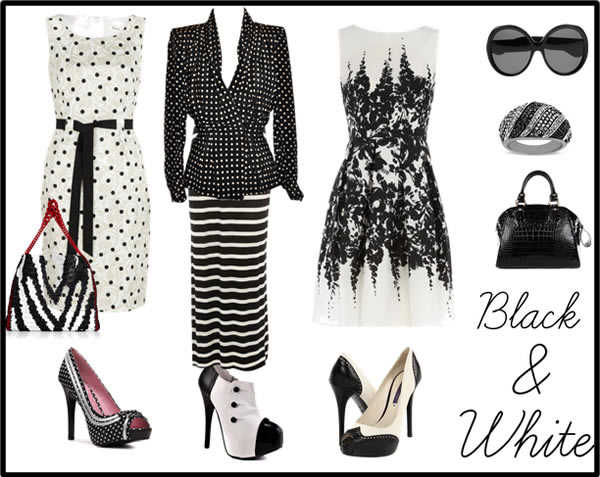 black and white dress accessories