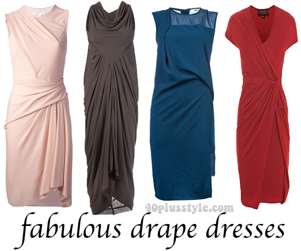 Some great drape dresses for women over 40 you can buy online right