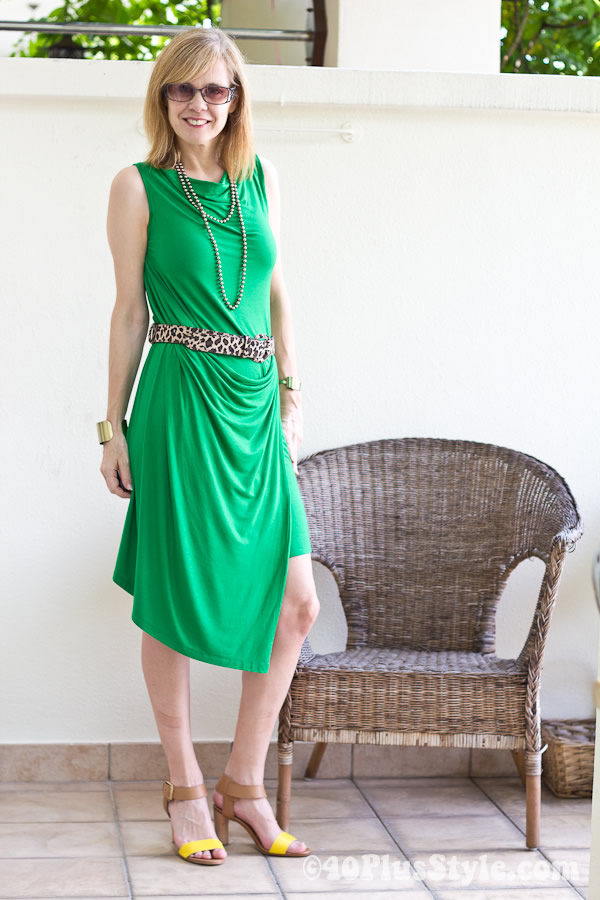 Green Sabrina Goh dress made in Singapore