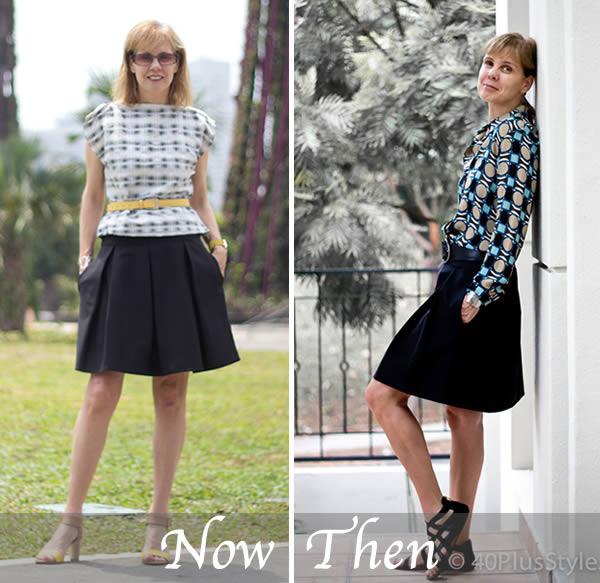 the black skirt then and now