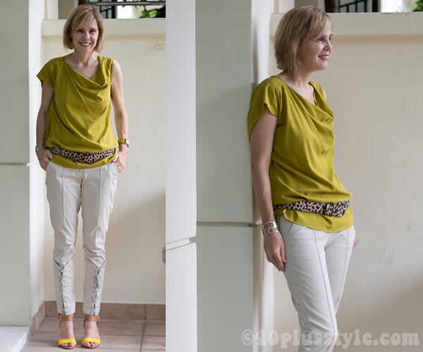 laced pants with yellow shoes