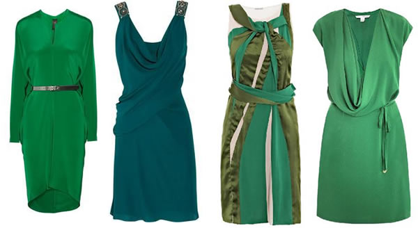 green silk dresses
