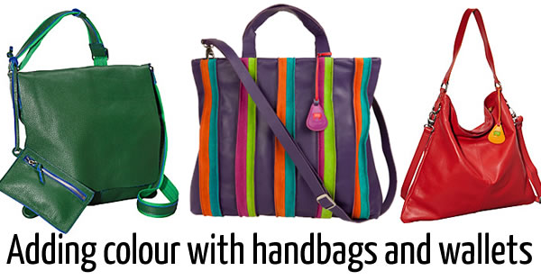 Colourful handbags and wallets