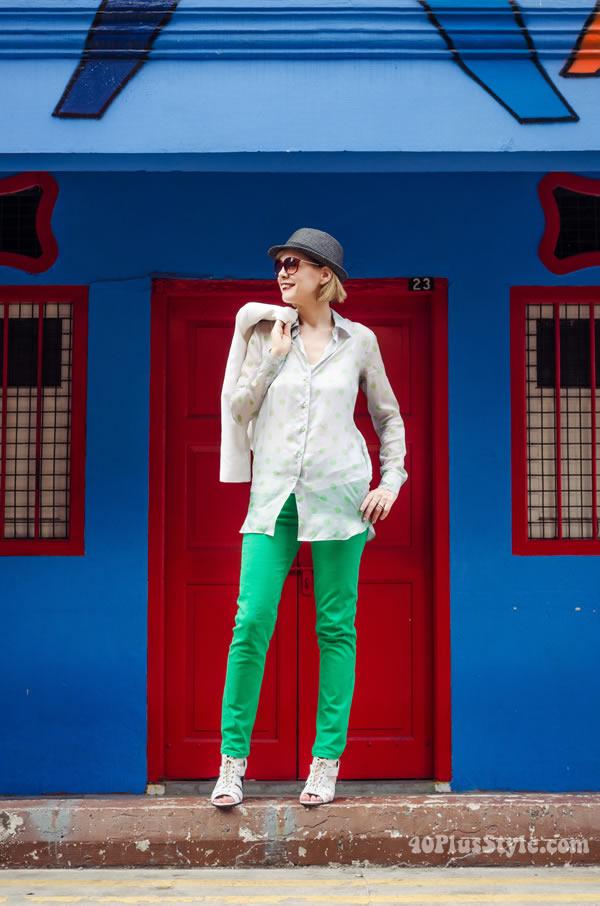 Polkadot blouse and green pants