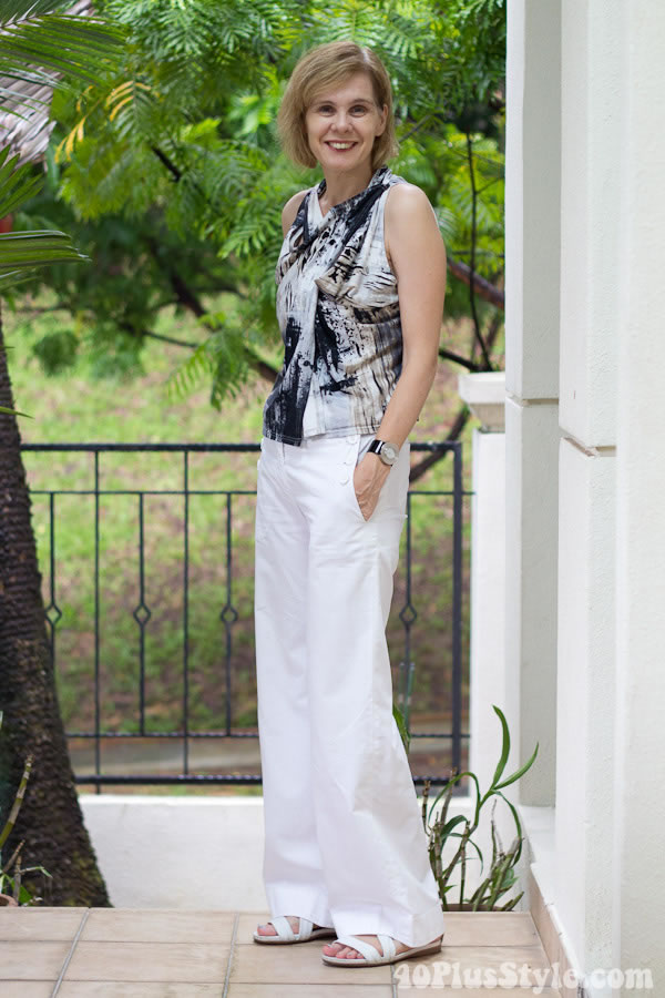 Wide white pants with black and white printed top