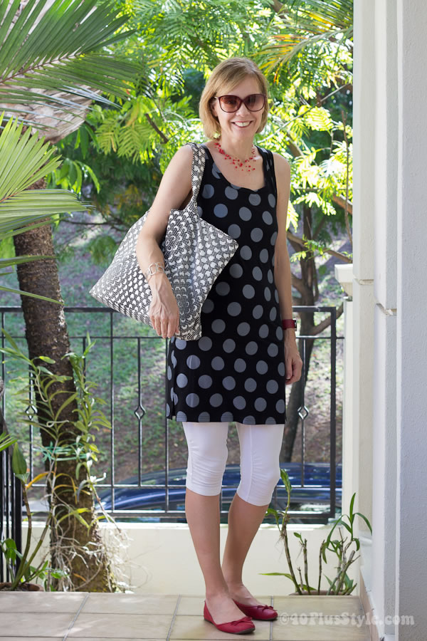 Polkadot dress with short leggings