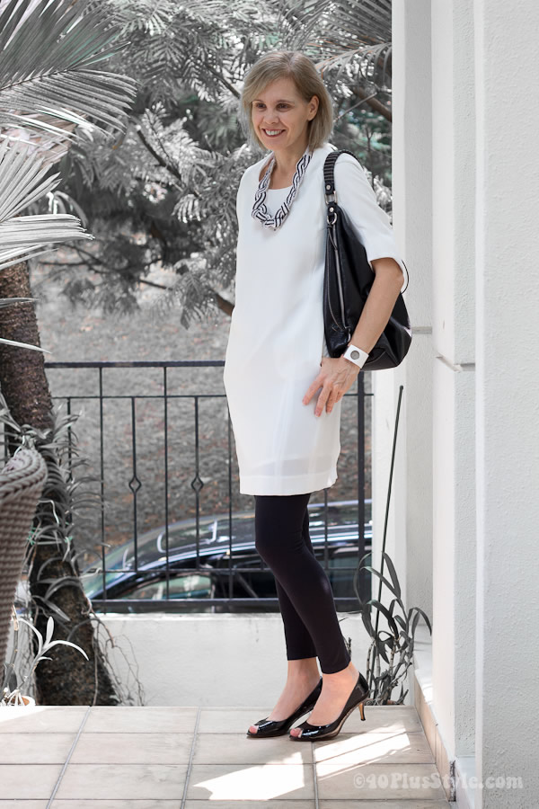 White dress with black leggings