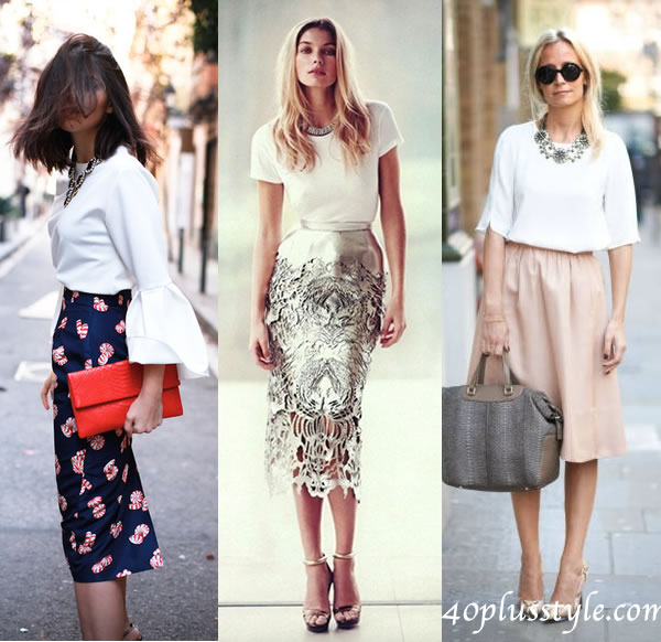how to wear white blouse with skirt