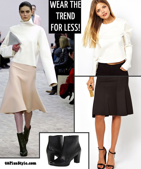 flared skirt with rounded top for less