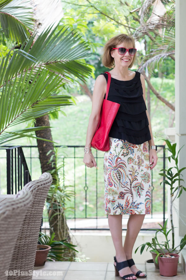 zara flower skirt coral pink sunglasses