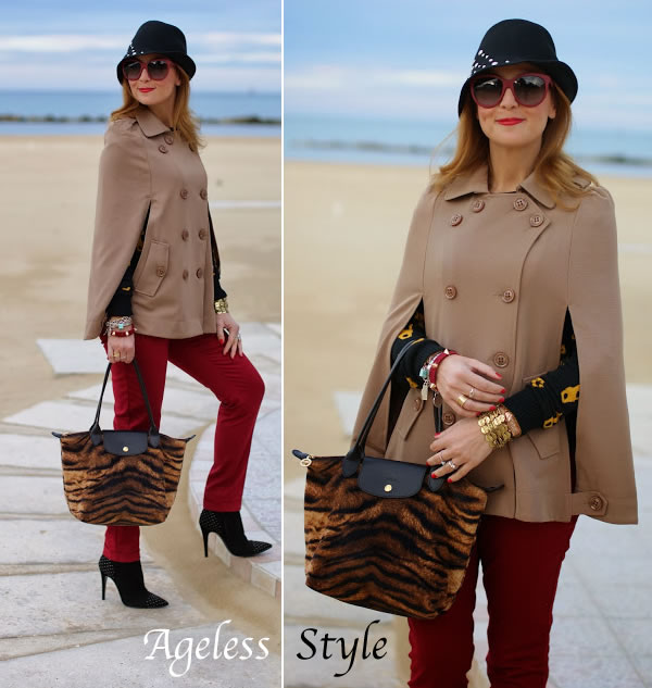 light brown cape, burgundy pants