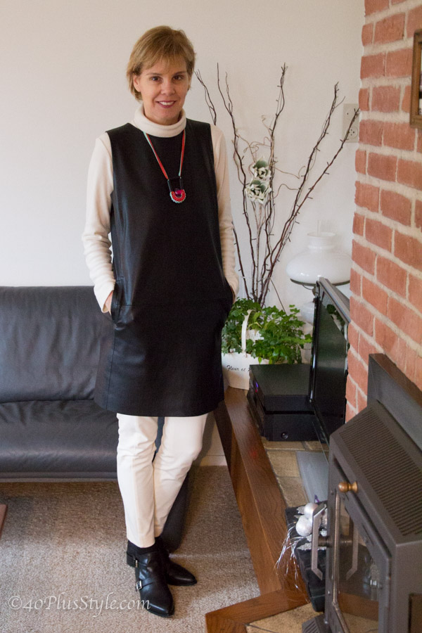 winter outfits: faux leather black dress and cream skinnies