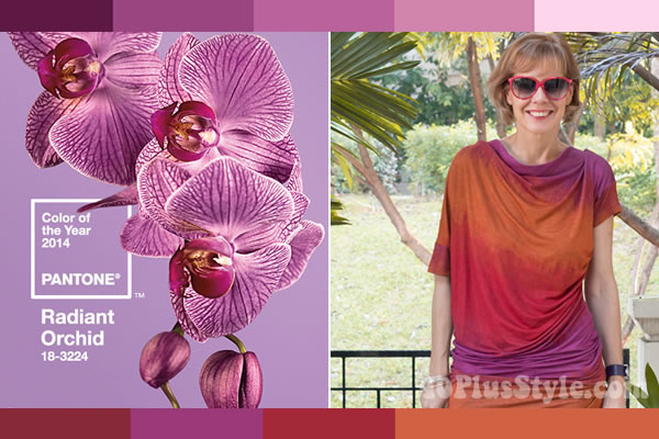 How to wear radiant orchid - take inspiration from photos!   40PlusStyle.com