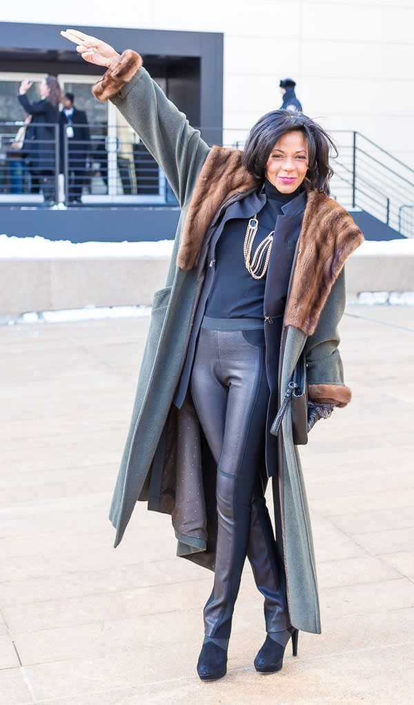 Streetstyle inspiration from New York Fashion Week: leather | 40PlusStyle.com
