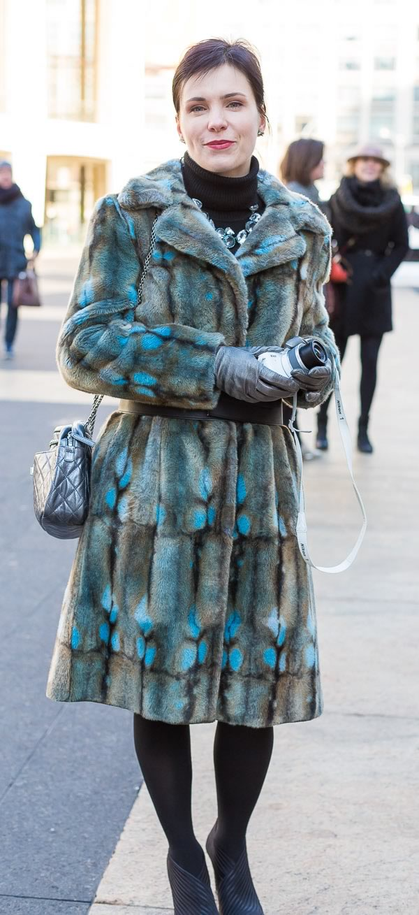 street style fashion and fur coats worn by women over 40 during