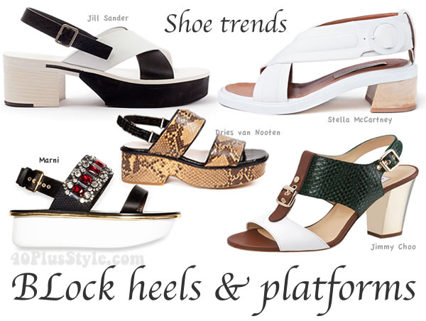 mid heel shoe trends: block heels and platforms