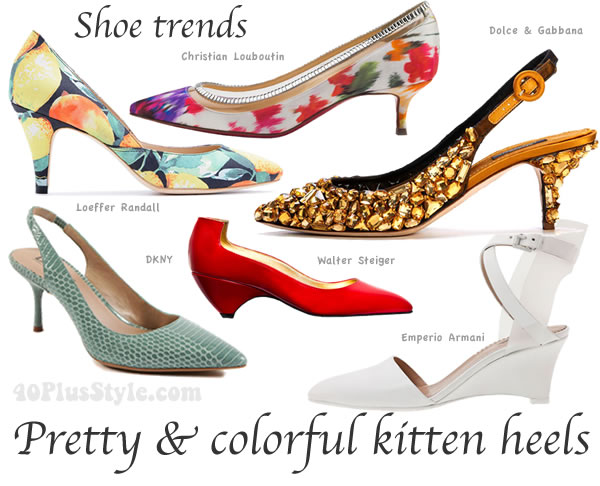 mid heel shoe trends for spring 2014: funky kitten heels