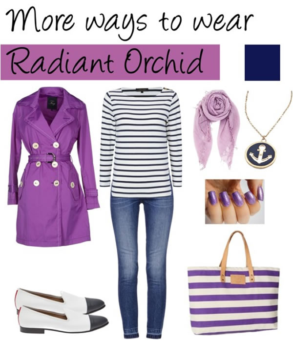 Radiant orchid with black and white stripes | 40PlusStyle.com