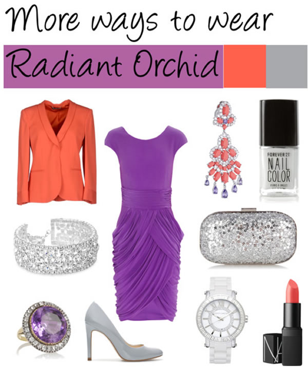 wearing radiant orchid with bright orange | 40PlusStyle.com