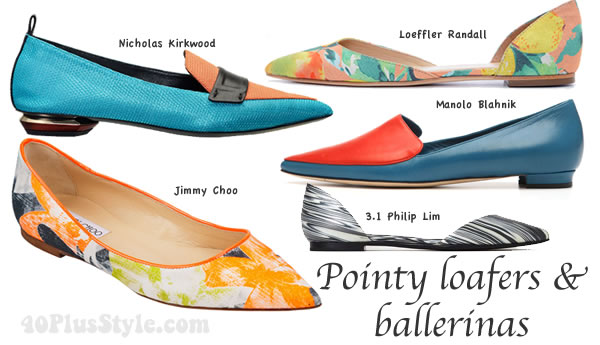 spring 2014 shoe trends: pointy loafers and ballerinas | 40PlusStyle.com