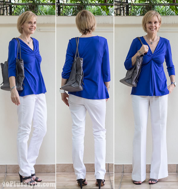 Wearing 2 Covered Perfectly tops 5 different ways - with white trousers | 40PlusStyle.com