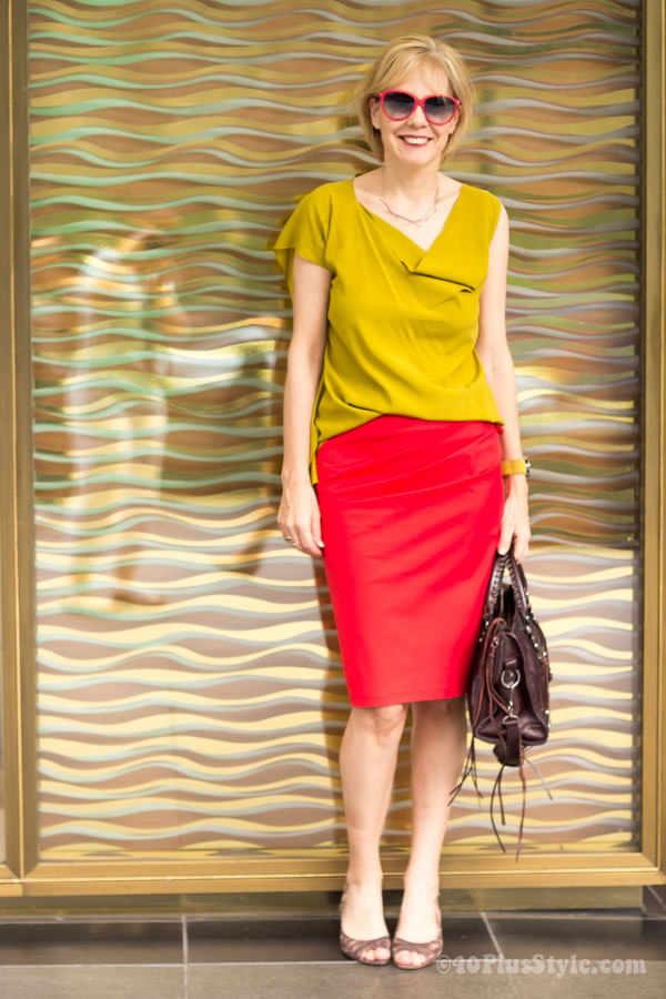 red skirt and mustard top plus the elements of style | 40plusstyle.com