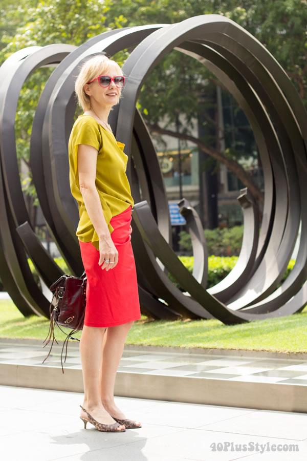 straight skirt - blousy top   40plusstyle.com