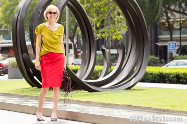 Donna Karan skirt Alldressedup top   40PlusStyle.com