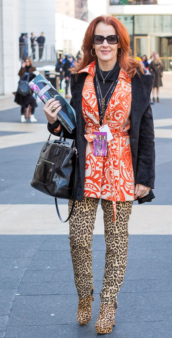 colorful pattern mixing with animal print pants | 40plusstyle.com