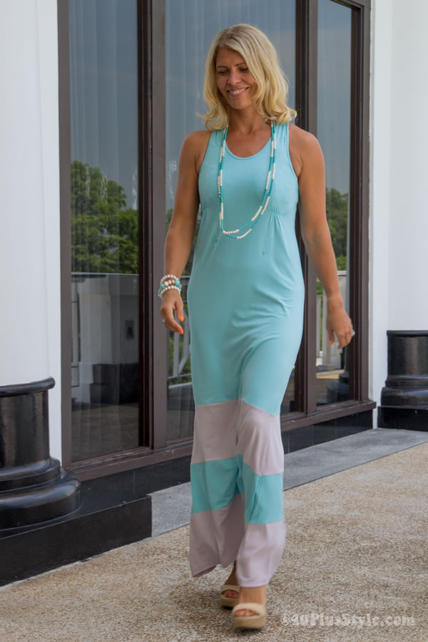 Blue and grey maxi dress