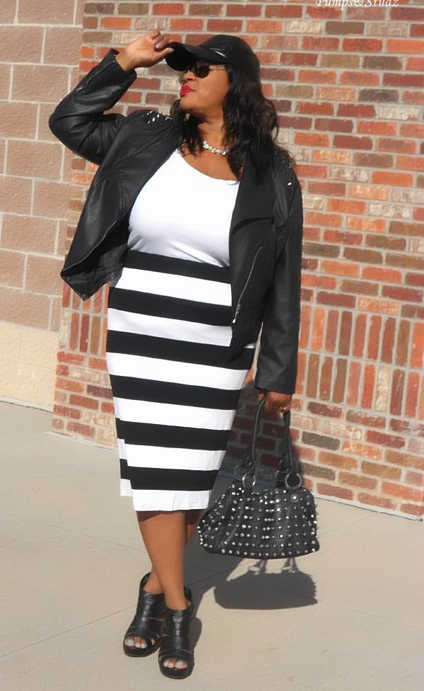 leather jacket with striped skirt | 40plusstyle.com